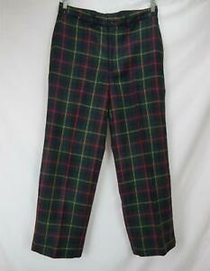 VTG Polo Ralph Lauren Plaid Dress Pants 100% Wool Multicolor Men's Waist 33 x 30