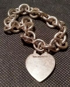 "Tiffany & Co Sterling Silver Chain Link Bracelet w/ KEK Engraved Heart Tag 7"""