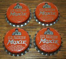 Lot of 4 Vintage Old Fashion Moxie Man Unused Soda Pop Bottle Caps Cork Lined