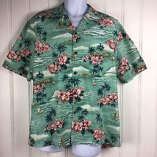 Hawaiian Shirt Floral Ho Aloha Large Green Pink Made in USA