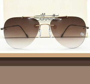 Silhouette Rimless Aviator Sunglasses Rx-able Prescription Ready 8667 40 6236
