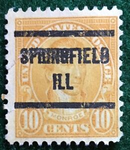 Springfield, Illinois Precancel, 10 cents Monroe (#562-type) ILL – closed tear