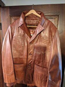 Tibor Vintage 70s Cherry Red Brown 100% Leather Men's Jacket Coat Jacket
