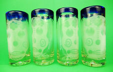 Mexican Shot Glasses, Blue rim Day of the Dead Skull embossed (4) hand blown