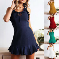 Women Ladies Ruffle Mini Dress Casual Summer Beach Holiday Party Swing Sundress