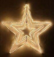 LED Stern Timer Beleuchtung Metall 3D warmweiß 55cm 274 LEDS Strom Sterne außen
