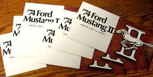 1974 Ford Mustang II Dealer Sales Brochure LOT (6) pcs, Hardtop Ghia 2+2 Mach 1
