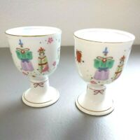 Set of 2 Otagiri Footed Saki Tea Cup Asian Ladies Gifts White Porcelain Japan