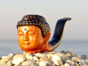 Briar Wood Portrait Tobacco Pipe Bust of Gautama Buddha Siddhattha Oguz Simsek