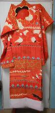 Vintage Japanese WEDDING KIMONO RED SCREENPRINTED BAMBOO FLOWERS BLOSSOM #56
