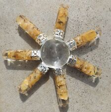 Quartz pyramid with 7 orgone yellow jasper crystal points ~ energy generator