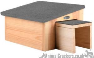 Chunky heavy wood Hedgehog house breeding hibernation shelter hog lover gift