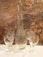 Vintage Etched Glass DECANTER Set with 4 Wine glasses.