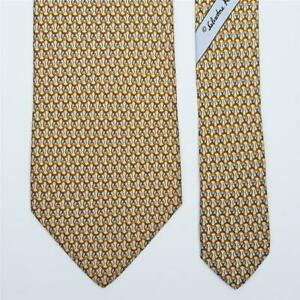 SALVATORE FERRAGAMO TIE Saddle on Yellow Classic Silk Necktie