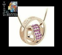 The *LOVE YOU FOREVER* Pink Heart Necklace/Pendant~ Made with Swarovski Crystals
