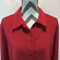 City Blues By KORET Red Long Sleeve Button Front Blouse Fleece Shirt Size 12 EE2