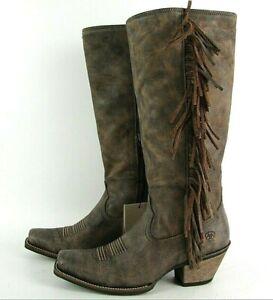 Ariat Womens Leyton Western Boot Fringe 8.5B Cowboy Snip Toe Zipper