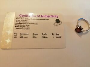 Sterling silver ruby & white zircon ring size R/S with full COA