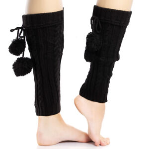 2pk Betsey Johnson Womens Black Leg Warmers Cable Knit Chunky Yarn With Pom Poms