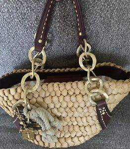 Juicy Couture Straw & Leather Nautical Beach Bag