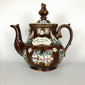 A Huge Measham Bargeware Teapot c.1885-95