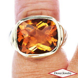 David Yurman Citrine 14K Gold Sterling Silver Noblesse Cable Pinky Ring 8.6 G NR