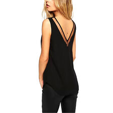Women Lady V-Neck Vest Summer Loose Chiffon Sleeveless Tank T-Shirt Top Blouse
