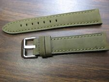 22mm Genuine Leather Regular Euro Quality Green Swede finish watch band