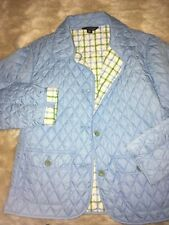 Lands End Quilted Thermolite 4 Button Womans Lightweight Coat Medium Sky Blue.