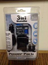 NEW Sealed Nintendo DS Lite Power Pak 3 in 1 Bundle Black Li-ion Battery 2 Charg