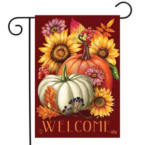 "Fall Beauty Floral Garden Flag Welcome Autumn Pumpkins 12.5""x18"" Briarwood Lane"