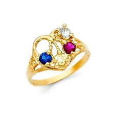 Heart Ring Solid 14k Yellow Gold Love Band Multi Color Cz Fashion Fancy Ladies