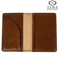 ITALIAN LEATHER PASSPORT HOLDER TRAVEL CASE COVER WALLET AMBER HANDMADE NEW