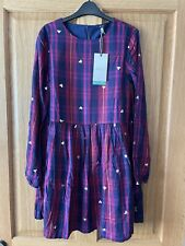 BNWT Joules Girls 11-12 Years Rowena Woven Dress  - Navy Hearts - RRP £45.95