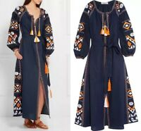 WOmen's Hot COtton Linen Long Sleeve Bohemia Embroidered Maxi Kaftan Long Dress