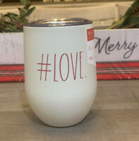 Rae Dunn - #LOVE - Insulated Stainless Steel Wine Glass w/ Lid 12oz