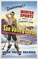 "Vintage Illustrated Travel Poster CANVAS PRINT Ski Sun Valley Idaho 24""X16"""