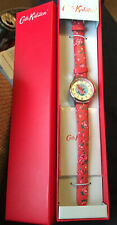 Cath Kidston Red & Silver Watch With Floral Strap New In Box