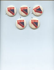 "(5) VINTAGE NHL ""NEW YORK RANGERS"" HOCKEY PINS (1 3/4 INCHES, WHOLESALE LOT)"