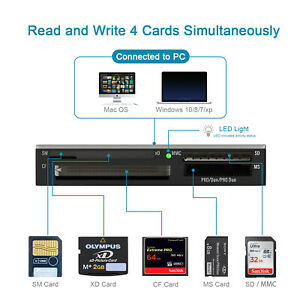 All-in-1 Multi SmartMedia SM Card Reader for SD xD CF Adapter Memory Writer
