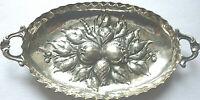 ANTIKE HENKELSCHALE SILBER 800/f. vor 1945 ca. 27 gramm FRÜCHTE oval ca. 12 cm