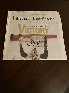 Sidney Crosby Hand Signed 2009 PPG Newspaper Stanley Cup Victory
