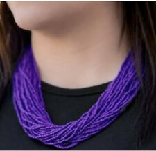 The Show Must Congo On! Purple Seed Bead Necklace And Earrings Set NEW