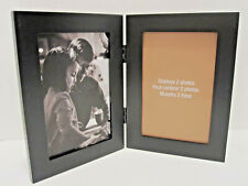 4x6 Hinged Double Black Wood Picture Frame Table Top Or Wall Hang