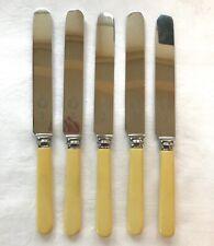 Set 5 Vintage Extra Large Dinner Knives Faux Bone Handles