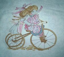 Vintage HOLLY HOBBIE GIRL Style on BICYCLE Fabric Panel (20cm x 18cm)