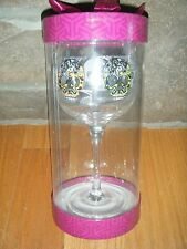 COLORED SKULLS WINE GLASS 18 OZ RARE MINX TALL COLLECTOR GLASS SEALED HTF MINT!!