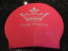 New in Bag AQUALIS Adult PINK SWIM PRINCESS print Latex Swim Cap - Swimming