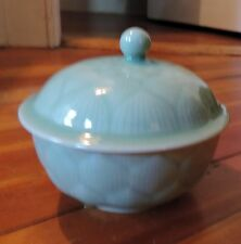 Antique Chinese Celadon Porcelain Bowl & Cover Box Export Peony Monochrome