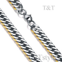 T&T 11mm 14K Gold GP  Two-Tone Stainless Steel Curb Chain Necklace (C95)